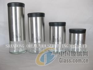 不锈钢套皮玻璃罐-厂家