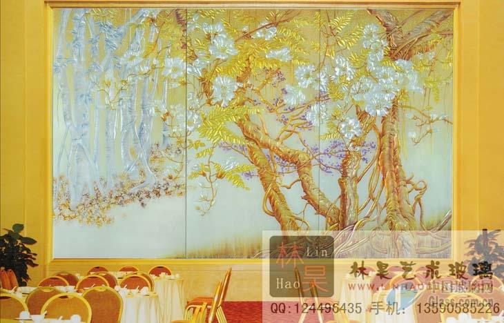雕刻艺术玻璃 背景墙装饰玻璃