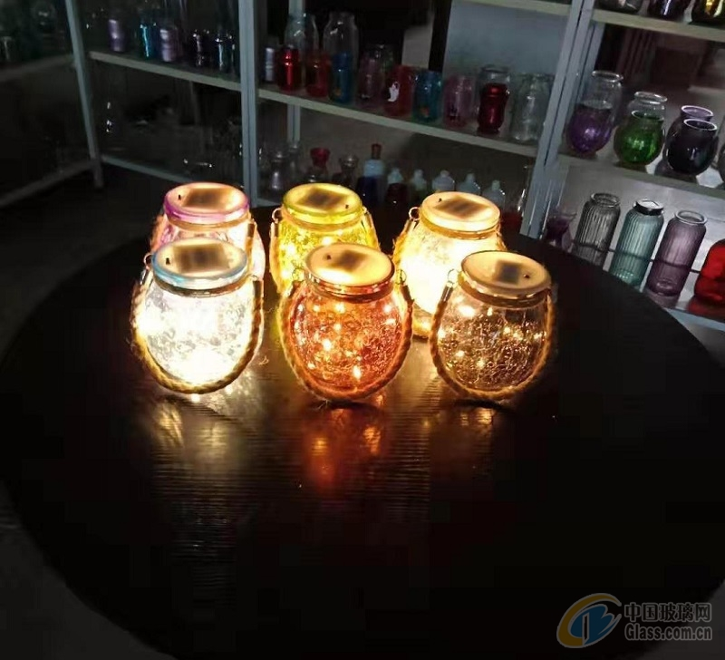 供应工艺玻璃,冰纹玻璃罐,led灯