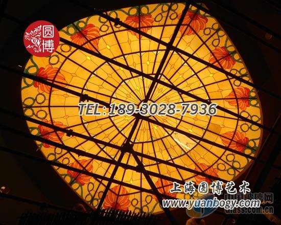彩绘玻璃穹顶抽象艺术自由风格个性圆博工艺