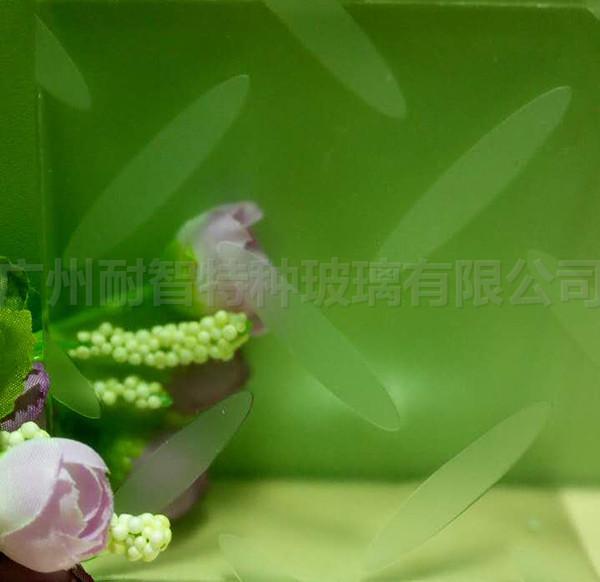 竹叶花纹防滑玻璃地板玻璃
