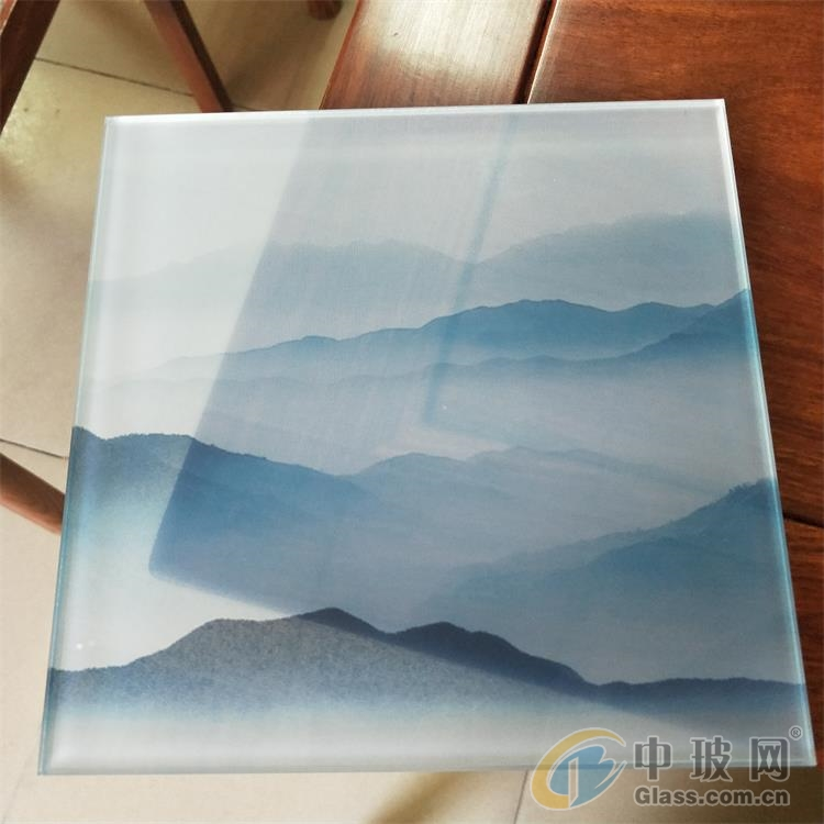 夹山水画玻璃 园林景观山水画玻璃 屏风夹画玻璃