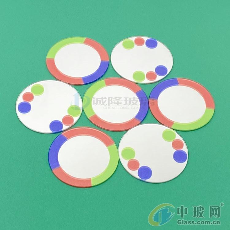 渐变色圆形玻璃 直径60圆形镜子丝印 玻璃加工