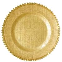 裕昌 厂家推荐创意布纹珠珠电镀盘西餐牛排垫盘家居用品 热卖