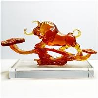 琉璃牛摆件 琉璃如意乾坤 广州琉璃礼品厂家 公司上市纪念品礼品