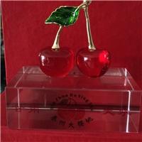 西安水晶櫻桃內雕模型 紅水晶桌擺工藝品