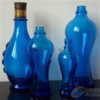 各种蓝料玻璃瓶蓝色酒瓶