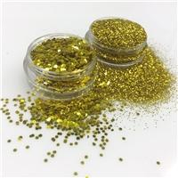 成批出售PET金色金葱粉 耐高温涂料用真石漆金粉