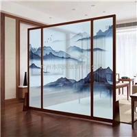 同民夹山水画玻璃 酒店大堂隔断屏风玻璃