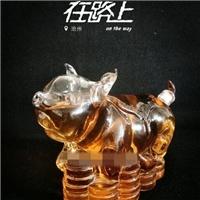 招财猪酒瓶 动物造型瓶子  钱猪玻璃酒瓶