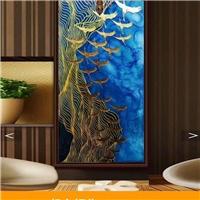 新中式雕刻艺术玻璃玄关装饰
