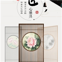 纯铜实木玻璃屏风效果图不绣钢中式古典屏风隔断墙定制