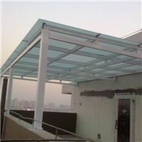 重庆单层双层夹胶片钢化玻璃雨棚