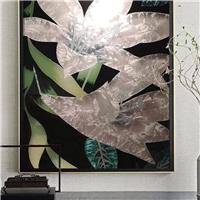 現代沙發背景墻玻璃 琺瑯彩藝術玻璃