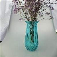 竖棱玻璃花瓶彩色水培花器创意客厅插花摆件
