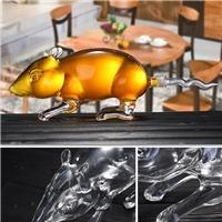 河间高硼硅耐热玻璃酒瓶 老鼠造型空心瓶