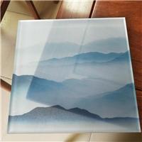 同民供应夹山水画玻璃园林景观屏风夹绢丝画玻璃