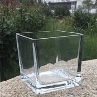 玻璃瓶透明方型玻璃花瓶创意玻璃烛台桌面装饰瓶