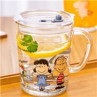 玻璃瓶儿童牛奶杯刻度带盖早餐杯印花吸管杯
