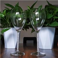 高硼硅无铅玻璃杯水钻高脚杯透明杯身红酒杯