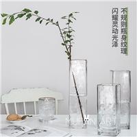 ins方形金邊花瓶北歐風冷紋方口花瓶多高低多規格花瓶