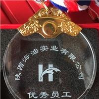 西安水晶奖牌 胸前挂绳奖牌刻字