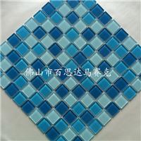 藍色游泳池水晶玻璃馬賽克瓷磚價格
