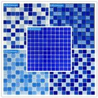 江西游泳池藍色水晶玻璃馬賽克瓷磚廠家價格