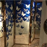 酒店工程 琉璃珐琅彩玻璃不锈钢屏风隔断