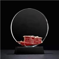 西安水晶圆盘奖盘桌摆刻字