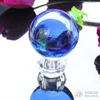 供应水晶球 蓝色玻璃球 风水球