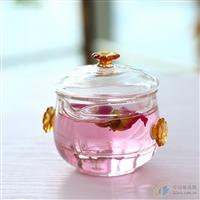 手工吹制高硼硅玻璃茶壶 双耳小圆壶