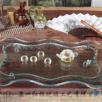 高档玻璃长方波浪茶盘