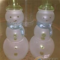 供应蒙砂玻璃雪人泡茶瓶