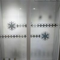鈦金隔斷透明拼割彩晶玻璃