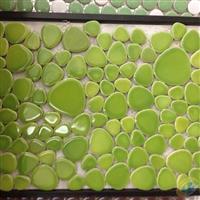 鹅卵石绿色水晶釉园林景观马赛克