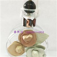 现货25ml三朵花玻璃香水瓶