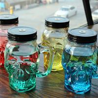 创意骷髅杯玻璃瓶梅森吸管杯