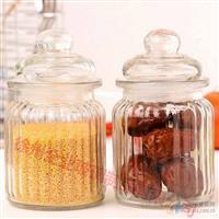 竖条纹玻璃储物罐密封罐