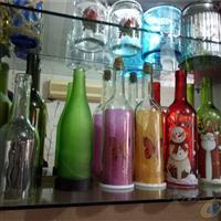 销售各色喷涂玻璃工艺品酒瓶