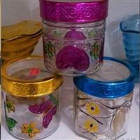 可视手绘图案玻璃储物罐玻璃瓶花纹