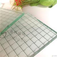 高透铁丝玻璃 进口菱型格方型格贴丝玻璃工厂