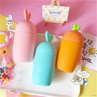 創意可愛蘿卜兔子杯玻璃杯防燙玻璃杯硅膠