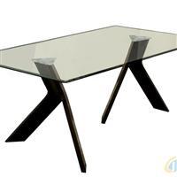 鋼化透明玻璃長條餐桌
