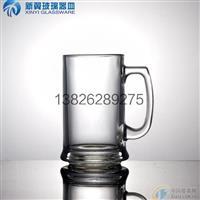 啤酒促销品压制高白料玻璃手柄啤酒杯批发可丝印图案