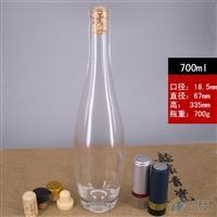 保齡球酒瓶厚底晶白大肚酒瓶高白料廠家定制玻璃酒瓶