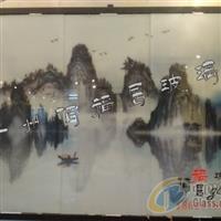 山水絹畫玻璃