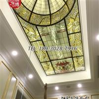 圆博玻璃制作彩色玻璃穹顶彩绘玻璃穹顶