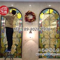 酒店門窗彩色玻璃鑲嵌彩繪玻璃鑲嵌玻璃