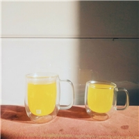 创意带把茶具双层防热玻璃茶杯耐热玻璃茶具